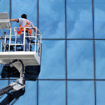 Professional Cleaner on Cherry picker