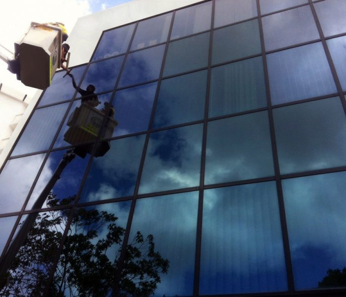 Our Commercial Window Cleaners at work in West Perth