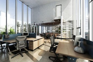 Open interior furnished modern office with large ceilings and wi