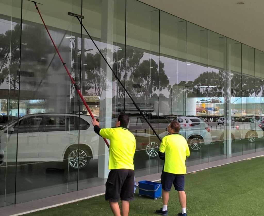 Our Perth window cleaners at work at BMW