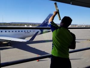 window cleaning internal windows at airport Perth